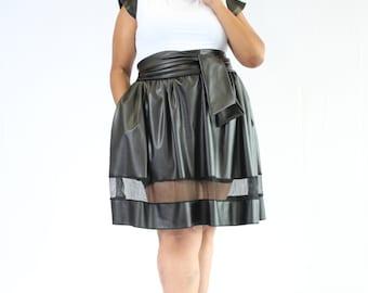 Black Leather Fringe Skirt Black Leather Skirt by DesignsByMakieah