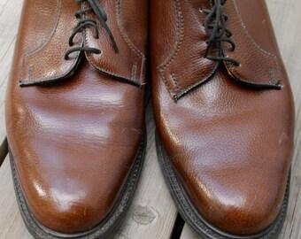 Vintage Leather Dress Shoes John Hampton Men's Shoes Brown Wedding Shoes Gifts for Him Size 10 Shoes Vintage Accessories Retro Menswear Mod