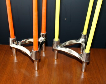 Nagel Silver Chrome Candleholders Mid Century Modern Candle Sticks Danish Modern Decor Mad Men Home Living Retro Lighting Eames Mod Design