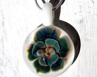 Glass Implosion Flower, Hand Blown Lampwork Boro pendant, Blue and White Flower Pendant