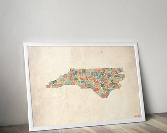 North Carolina by County - Typography Print