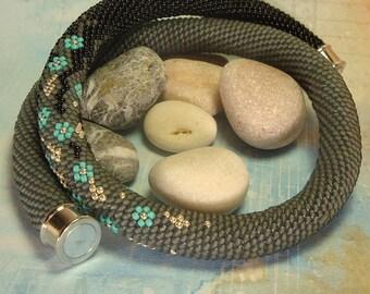 Beaded crochet rope -  grey black necklace - seed bead necklace - flower necklace - beaded rope necklace - flower waterfall