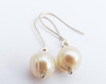 pearl earrings/freshwater pearl earrings/pearl drop earrings