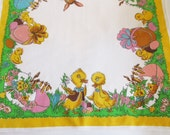 Lovely German Vintage Easter Printed Tablecloth with Ducks Bunnies and Eggs, made in the DDR