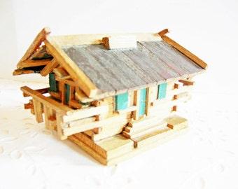 Old German Vintage Bavrian Folk Art Handmade Wooden Alp House Money box