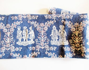 German Vintage Blue Rustic Bavarian Costume Cotton Fabric / Sample Restpiece for sewing; sewing supply
