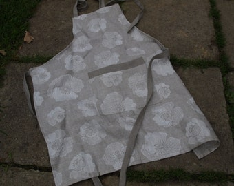 Pure Linen Full Apron Natural Grey with Poppy Pattern