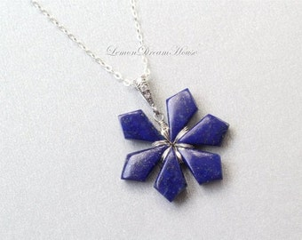 Gemstone Snowflake Necklace, Lapis Smooth Tilak Briolettes, Sterling Silver Chain, Bail with CZ, Wire Wrapped Snowflake. Holiday Gift. N220.