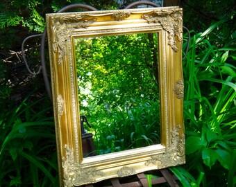 Gold Leaf Mirror, Ornate Mirror, Large Gold Mirror, Chunk Framed Mirror, Gold Leaf Frame, Baroque Decor, Syroco Mirror, Regency Mirror
