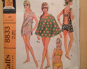 Misses and Juniors Sports Bathing Suit, Cape, Toga and Pinafore McCalls Sewing Pattern 8833 60s Size 9-11