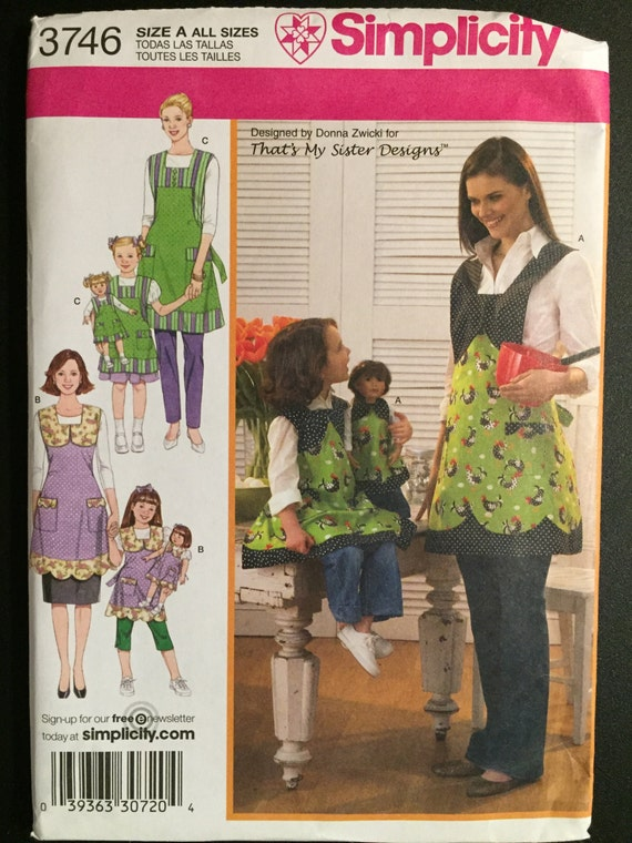 "Simplicity Sewing Pattern 3746 Uncut Child's, Misses and 18"" Doll Aprons"