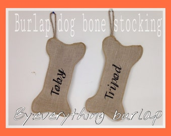 Burlap dog bone stocking personalize