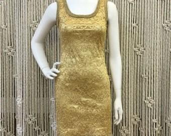 Gorgeous 1990's Emanuel Ungaro golden lace and satin bodycon dress