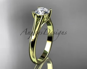 "14kt yellow gold unique engagement ring, wedding ring, solitaire ring with a ""Forever One"" Moissanite center stone ADER109"