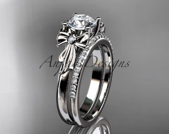 14kt white gold diamond unique engagement set, wedding ring ADER154S
