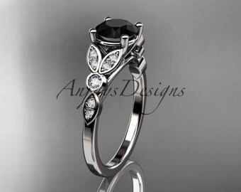 platinum unique engagement ring, wedding ring with a Black Diamond center stone ADLR387