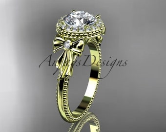 14kt yellow gold diamond unique engagement ring, wedding ring ADER157