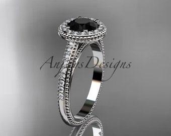 platinum diamond unique engagement ring, wedding ring with a Black Diamond center stone ADER104