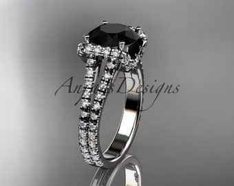 14kt white gold diamond unique engagement ring, wedding ring with a Black Diamond center stone ADER107