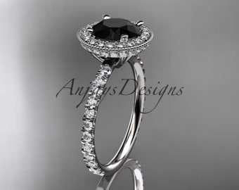 14kt white gold diamond unique engagement ring, wedding ring with a Black Diamond center stone ADER106