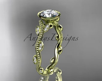 14k yellow gold diamond leaf and vine wedding ring, engagement ring ADLR33