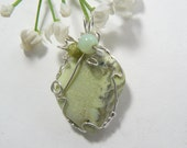 Lemon Chrysoprase (Magnesite) designer cabochon wire wrapped with argentiun silver wire 10-20% off coupons, Reduced Shipping  (w12069)