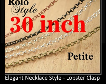 50 30 inch. Necklaces - PETITE Rolo Style - Bronze Chain - Mix and Match -Antique Copper Chain, Silver Chain, Antique Silver Chain