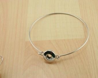 PETITE Snap Base Bangle Bracelet - Zinc Alloy Jewelry Thin Bangle Makings for Snap Buttons, Platinum, 62mm Knob: 5~6mm