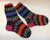Handknit Socks for Women Teen Girls Ladies Socks Wool socks knitted socks gift for women Colorful Multicolor