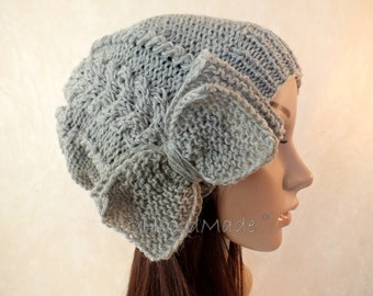Cable Knit Slouchy Beanie Slouch Hat Oversized Baggy Cabled Hat Womens Fall Winter Merino Wool Gray Grey Hand Made Knit