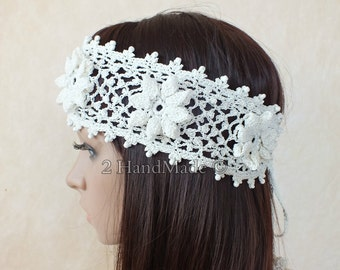 White OOAK Irish Lace 3D Crochet Headband Dreadlock Head Wrap Boho Glass Beaded Women Ivory Wedding Bridal Cotton Hair Snood