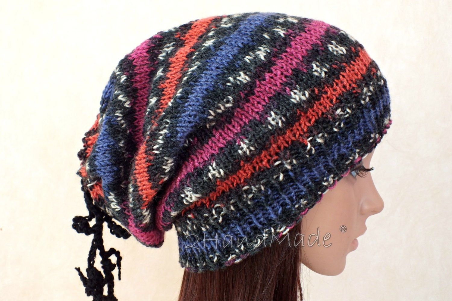 Oversized Beret Knitting Pattern : Hand Knit Unisex Oversized Beret Neck Warmer Slouchy Dread
