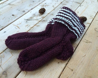 Knit Slipper Socks - Knit House Shoes - Slippers - House Socks - Burgundy and Cream