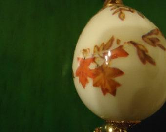 Vintage 1960s Boho Chic Porcelain Egg Tassel Necklace