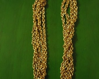 Vintage 1980s Boho Golden Waterfall Link Necklace