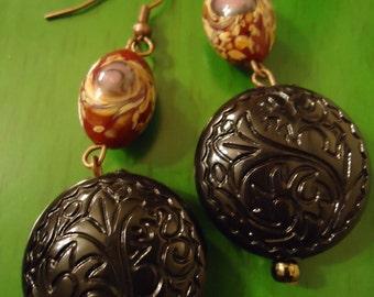 Boho Gypsy Inspired Red & Black Ornate Revival Drop Earrings