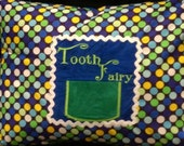 """Blue and Green Tooth Fairy Pillow Case with Pocket for Tooth - Polka Dots, Zipper - Fits 12"""" X 16"""" Pillow Form"""
