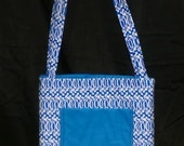 Blue and White Activity Bag with a Ton of Activities Included.  Cotton with 2 Long Carry Straps, Large Pockets, Batting, Super Soft, FUN!!