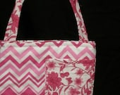 Pink Chevrons, Floral Activity Bag with a Ton of Activities Included.  2 Long Carry Straps, Large Pockets, Batting, Super Soft, FUN!!