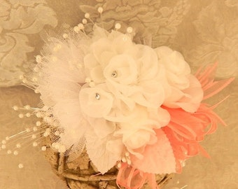 Wrist Corsage, Prom Homecoming White and Coral Corsage, - Ready To Ship