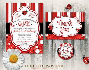 Ladybug Birthday Invitation Party Package, Lady Bug Customized Stickers, LadyBug Thank You Card, Birthday Party Printables, Polka Dot