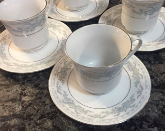 Somerset by NL Exel 4 China Cups and 4 Saucers