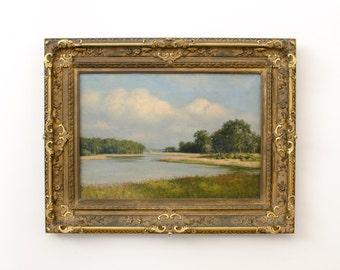 Antique Listed Artist Eugene Alonzo Poole Original Gold Leaf Framed Oil Painting - 1900's