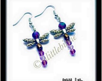 Purple Dragonfly Beaded Earrings