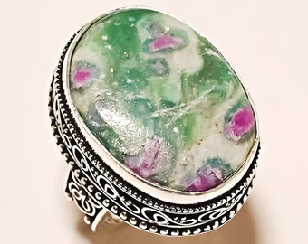 Ruby in Fuschite Ring in Sterling Silver Mens or Womans ring