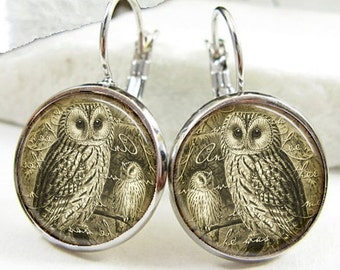 Vintage Style Owl Earrings (ER0288)