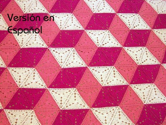 Crochet Patterns In Spanish : 3D illusion blanket Crochet Pattern. SPANISH VERSION. Stacked cubes ...