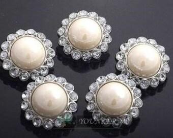 Set of 10 Round Pearl Rhinestone Button / 23mm rhinestone pearl button / wedding embellishment / scrapbooking / flower center