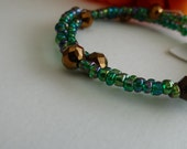 Teal and Bronze Wrap Around Bangle Bracelet