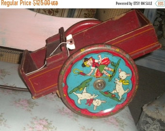 SUMMER SALE Awesome RARE 1930's Antique Wooden Wagon, Vintage Toy, Collectible